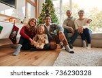 portrait of a happy family... | Shutterstock . vector #736230328