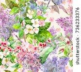 seamless texture with bouquet... | Shutterstock . vector #736233376