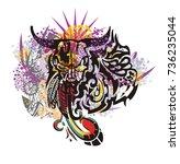 grunge tribal bull skull...   Shutterstock .eps vector #736235044