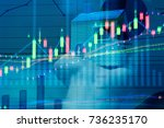 financial data on a monitor as... | Shutterstock . vector #736235170