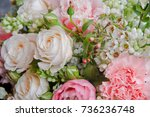 beautiful white pink wedding... | Shutterstock . vector #736236748