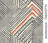 seamless hand drawn stripe... | Shutterstock .eps vector #736243774
