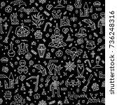 happy halloween pattern with... | Shutterstock .eps vector #736248316