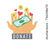 donate button  sticker with... | Shutterstock .eps vector #736248670