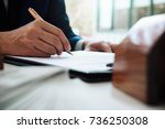 close up of business person... | Shutterstock . vector #736250308