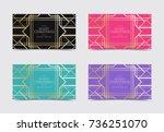 set of christmas gift card... | Shutterstock .eps vector #736251070