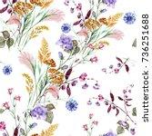 Field Bouquet Of Watercolor On...