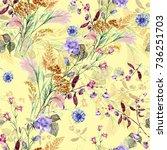 field bouquet of watercolor on... | Shutterstock . vector #736251703