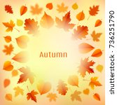 autumn background with leaves.... | Shutterstock .eps vector #736251790