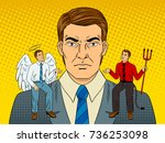 devil and angel on businessman... | Shutterstock .eps vector #736253098