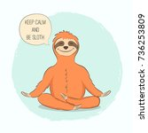 cute hand drawn sloth in yoga... | Shutterstock .eps vector #736253809