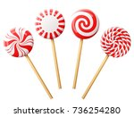 set of christmas candy on... | Shutterstock . vector #736254280