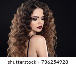 beauty girl hair. curly... | Shutterstock . vector #736254928