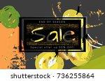 gold shiny glitter sale... | Shutterstock .eps vector #736255864