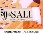 sale advertisement banner on... | Shutterstock .eps vector #736256008