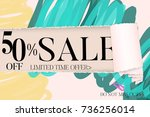 sale advertisement banner on... | Shutterstock .eps vector #736256014
