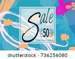 sale advertisement banner on... | Shutterstock .eps vector #736256080