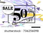 sale advertisement banner with... | Shutterstock .eps vector #736256098