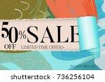sale advertisement banner on... | Shutterstock .eps vector #736256104