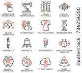 vector set of 16 linear icons... | Shutterstock .eps vector #736256200