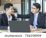 two of business man sitting at... | Shutterstock . vector #736258909