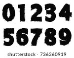 grunge numbers set.vector... | Shutterstock .eps vector #736260919