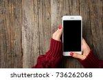 female hands in warm sweater... | Shutterstock . vector #736262068