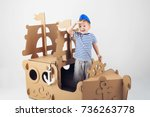 little boy playing with... | Shutterstock . vector #736263778
