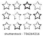 set of grunge stars.vector... | Shutterstock .eps vector #736264216