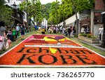 """Small photo of KOBE, JAPAN - MAY 03, 2017 : Infiorata is a festival of """"flower carpets"""" Every year Kobe City holds an event where they close off roads and make big flower pictures."""