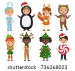 vector set of cute kids wearing ... | Shutterstock .eps vector #736268023
