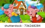 cartoon scene pig farmers near... | Shutterstock . vector #736268284