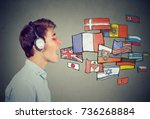 young man learning different... | Shutterstock . vector #736268884