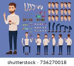 creation set of handsome young... | Shutterstock .eps vector #736270018