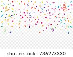 colorful confetti and ribbon... | Shutterstock .eps vector #736273330