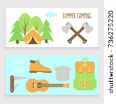 camping banner set  colorful... | Shutterstock .eps vector #736275220