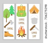 camping banner set  colorful... | Shutterstock .eps vector #736275298