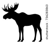 Vector illustration of a black silhouette of an elk. Isolated white background. Icon moose with horns side view, profile.