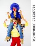 a portrait of a clown | Shutterstock . vector #736287796