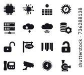 16 vector icon set   chip  sun...   Shutterstock .eps vector #736288138