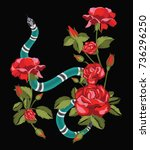 snake and roses.embroidery and...   Shutterstock .eps vector #736296250