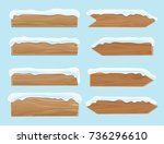 wood banners planks covered... | Shutterstock .eps vector #736296610