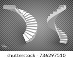 white stairs  3d staircases.... | Shutterstock .eps vector #736297510