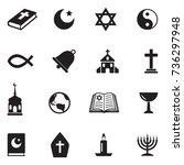 religion icons black flat