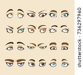set of cartoon girl eyes... | Shutterstock .eps vector #736297960