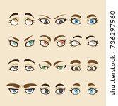 set of cartoon girl eyes... | Shutterstock .eps vector #736297960