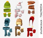 winter scarf  hats and caps ... | Shutterstock .eps vector #736298554