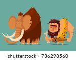 mammoth and caveman with a... | Shutterstock .eps vector #736298560