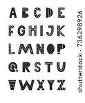 abc   latin alphabet. unique... | Shutterstock .eps vector #736298926