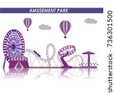 amusement park in flat colorful ... | Shutterstock .eps vector #736301500